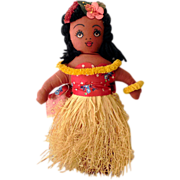 SALE Vintage 1940s Hand Made Hawaiian Cloth Hula Girl Doll