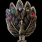Large Jeweled Peacock Brooch Pendant