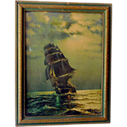 SOLD 1940s Print In Nice Frame Old Ironsides Ship At Stormy Sea
