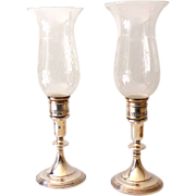 SALE Pair Sterling Silver Candlestick Holders Hurricane Globes