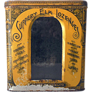 SALE Old Tin & Glass Pharmacy Display Bin Slippery Elm