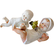 SALE (2) Marked German Bisque Children Figurines Piano Baby