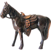 SOLD Small Vintage Metal Horse With Western Saddle