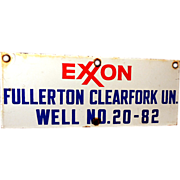 Vintage EXXON Oil Well Porcelain Sign *NICE*