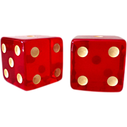 SOLD GIANT Pair 1930s Translucent Cherry Red Bakelite Dice