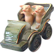 Antique Pink Pigs Figurine in Road Car Germany Fairing