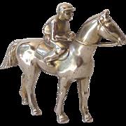 SOLD Vintage Metal Race Horse and Jockey