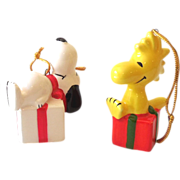 SOLD (2) Ceramic Peanuts Ornaments Snoopy & Woodstock