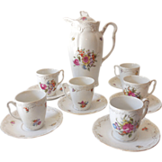 SOLD Old Coffee Pot Or Chocolate Pot With 6 Cups & Saucers