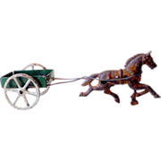 Vintage Toy Cast Iron Horse Pulling Tin Cart