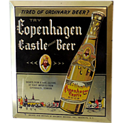 1950s Copenhagen Castle Beer Store Display Tin Sign