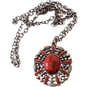 Native American Style Red Stones & Silver Necklace