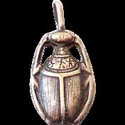 Vintage Egyptian Scarab Beetle Silver Pendant