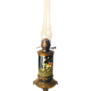 SALE LARGE Victorian Duplex Hand Painted & Brass Oil Lamp