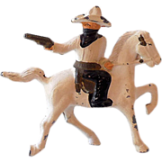 1930s Barclay Lead Toy Cowboy Bandit on Horse Gun