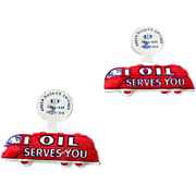 """(2) Vintage Tin Litho Pins """"Oil Serves You"""" NOS"""