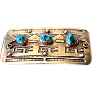 "SALE PENDING Navajo Silver & Turquoise Belt Buckle Signed ""RB"""