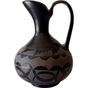 SALE HUGE Early San Ildefonso Pueblo Black on Black Pottery Ewer