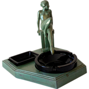 Fabulous Art Nouveau Metal Tobacco Stand Nude Lady