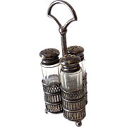 Victorian 3 Piece Shaker Set In Silverplated Caddy
