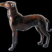 Art Deco Bronze Whippet Greyhound Dog Statue
