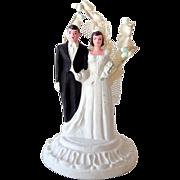 SOLD 1950s Chalk Wedding Cake Topper Bride & Groom