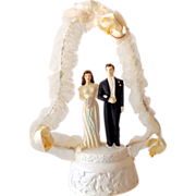 Unusual Vintage Wedding Cake Top Bride & Groom