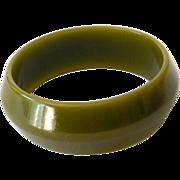 SALE Wide 1930s Bakelite Bracelet Olive Green