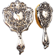 Early 1900s Brush & Mirror Vanity Set Silver Plate With Cherubs