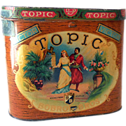 Large Vintage Topic Bobrow Bros Cigar Tin Great Litho Graphics