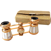 1950s-60s Mother of Pearl Opera Glasses In Case