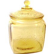 SALE PENDING Yellow Depression Glass Lidded Biscuit Jar Madrid Pattern