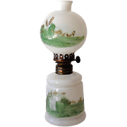 Small Vintage GWTW Oil Lamp Milk Glass with Hand Painted Scene