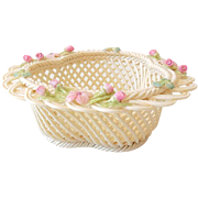 SOLD Delicate Belleek Basket With Pink Flowers Made in Ireland