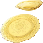 SOLD (2) 1930s Yellow Depression Glass Bowl & Dinner Plate