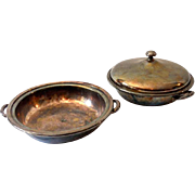 (2) Vintage Silver Plated Serving Bowls 1 Lidded M