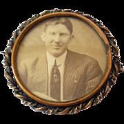 1920s Picture Brooch Handsome Gentleman