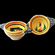 Pair 1920s Lug Handle Soup Bowls Signed HB (Henriot) Quimper France