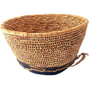 Unusual Vintage Hand Woven American Indian Basket with Hide