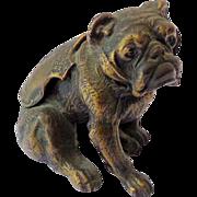 Vintage Bronze Bulldog Metal Figure