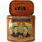 Large Colorful  1920s Yocum Bros. Cigar Tin