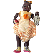SOLD Scarce 1920s Celluloid doll Black Girl Holding a Doll