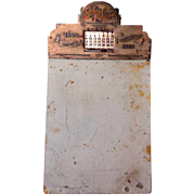 1949 Metal Advertising Clipboard With Perpetual Calendar