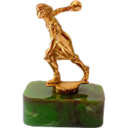 1940s Bowling Trophy Chunky Green End Of Day Bakelite Base