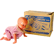 1940s Irwin Mechanical Wind Up Crawling Toy Baby Doll Mint in Box