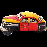 Vintage Friction Motor Tin Litho Safety Patrol Police Car