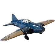 Hubley Kiddie Toy Airplane With Folding Wings and Wheels