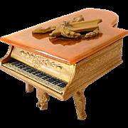 Ornate Grand Piano Swiss Music Box Jewelry Trinket Box Bakelite Top