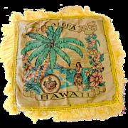 1940s Hawaiian Islands Souvenir Satin Pillow Cover