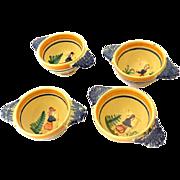 (4) 1920s Lug Handle Soup Bowls Signed HB (Henriot) Quimper France